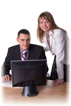 Business people at work with excellent computer support