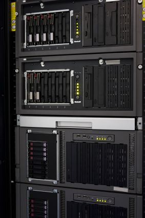 Four HP Proliant rack mounted servers with hot swap drives.